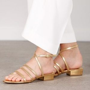 By Far Helen Gold Strappy Shoes Sandals Ankle